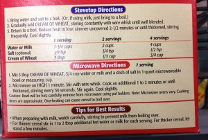 Cream Of Wheat Directions