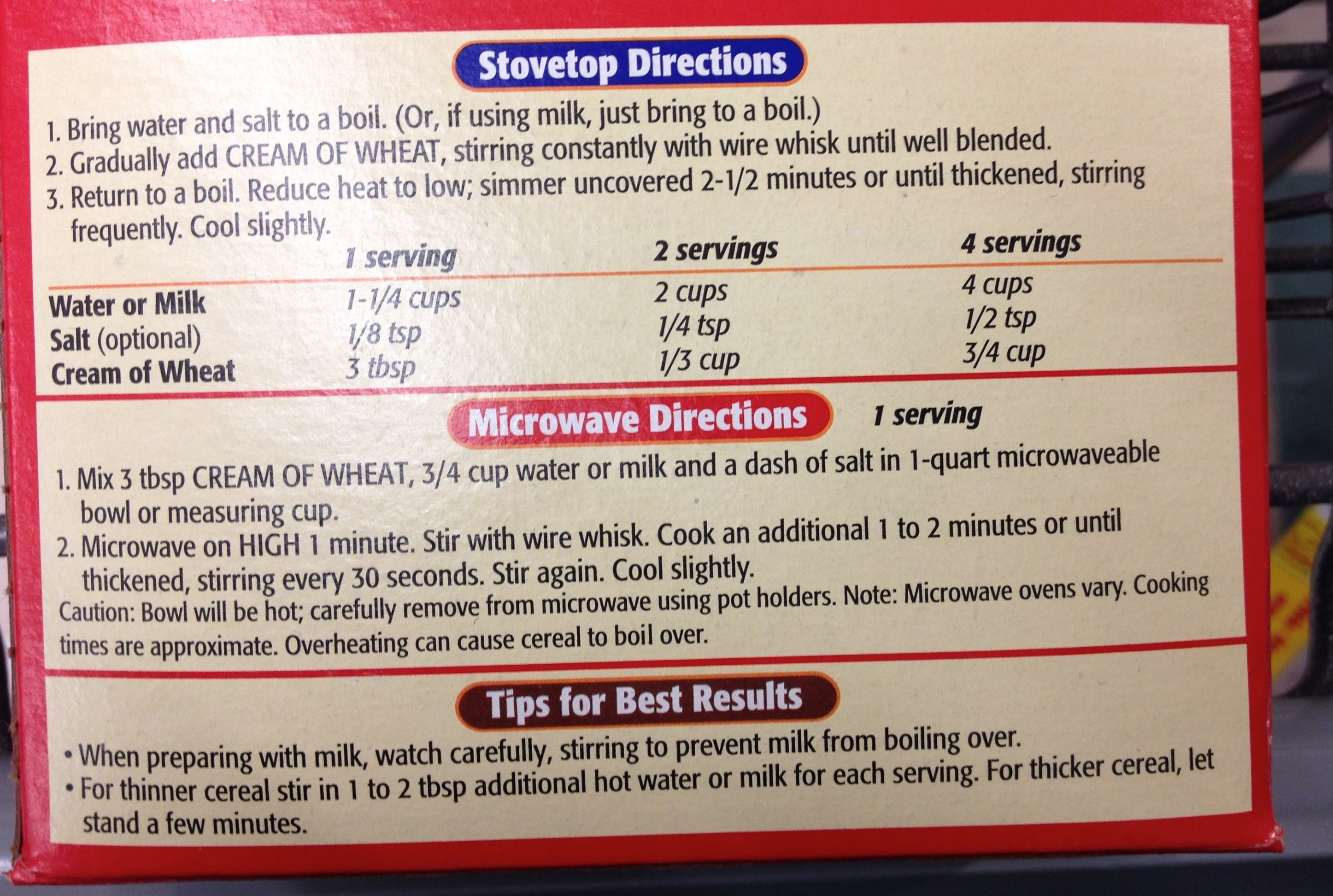 It's On The Box! … Cream of Wheat