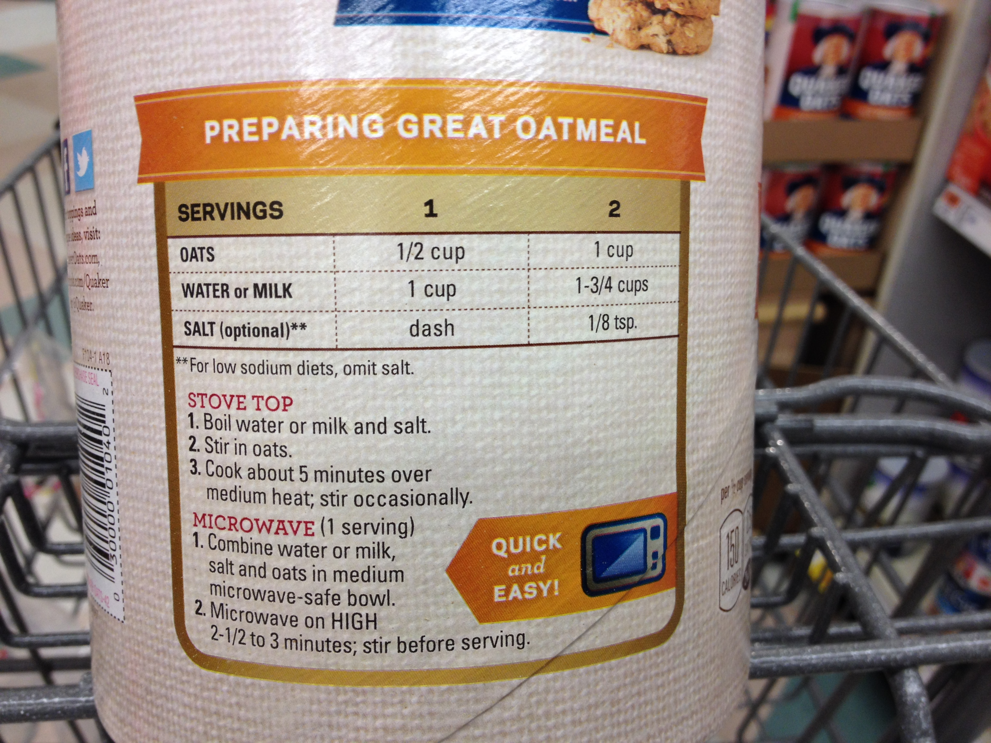 It's On The Box! … Oatmeal