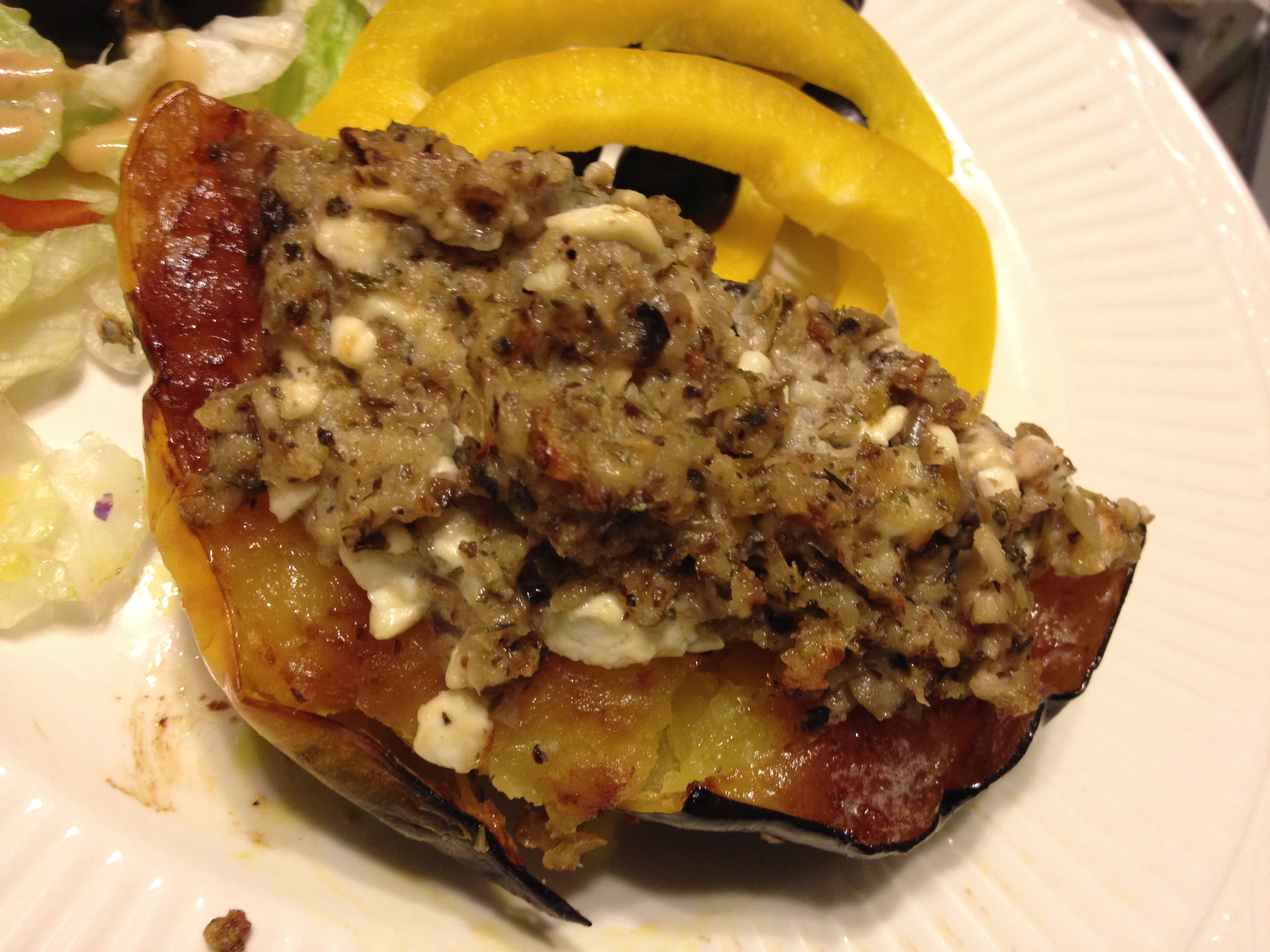 Mushroom-Cheese Stuffed Squash